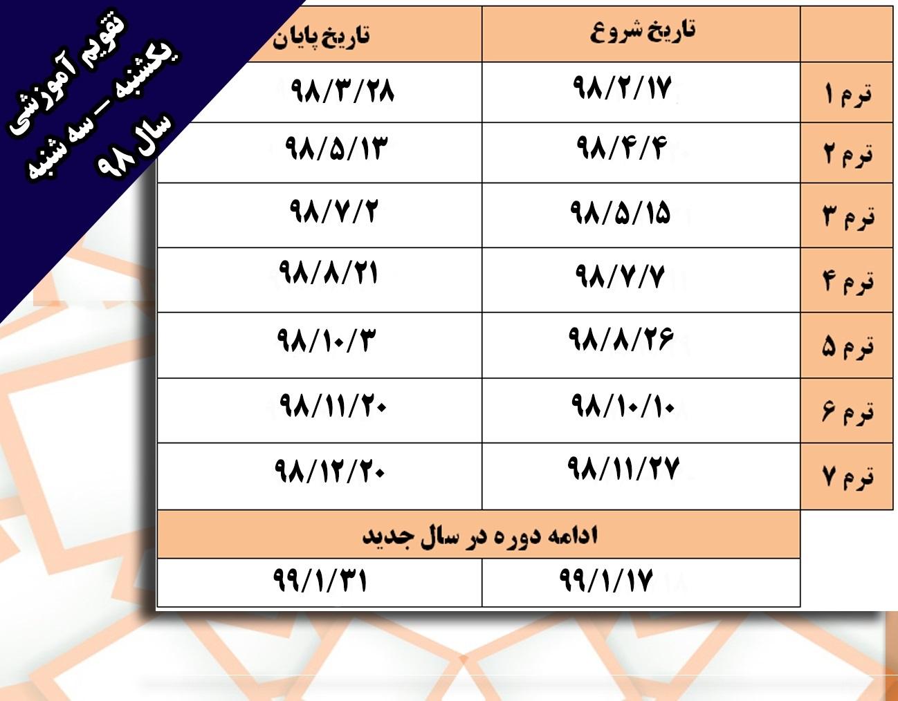 اندیشه پارسیان/تقویم آموزشی روزهای یکشنبه-سه شنبه